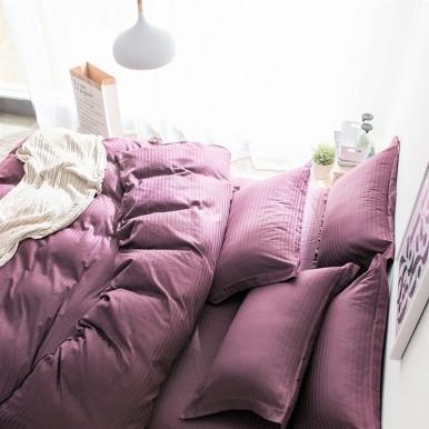 Страйп - сатин  Фиолетовый , Турция