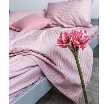 Страйп -сатин  Пудрово-розовый  , Турция  1х1 см