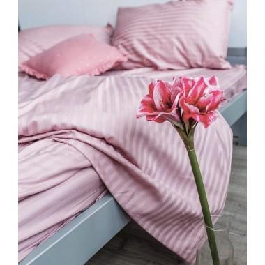 Страйп - сатин Пудрово- розовый , Турция